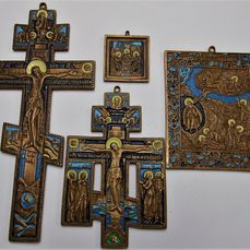 Russian Orthodox travel icons - Bronze casting the multicolor enamel - bronze (patinated/cold (4) - Brons