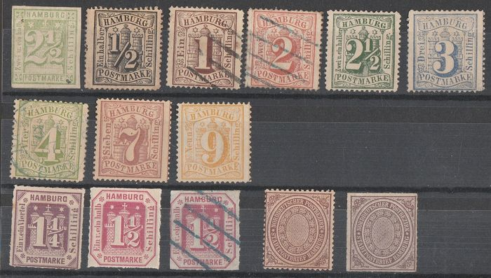 Hamburg 1864/1869 - + Northern Germany office - Germany old states - Unificato n.10-13-14-15-16-17-18-20-21-22-23-1-2