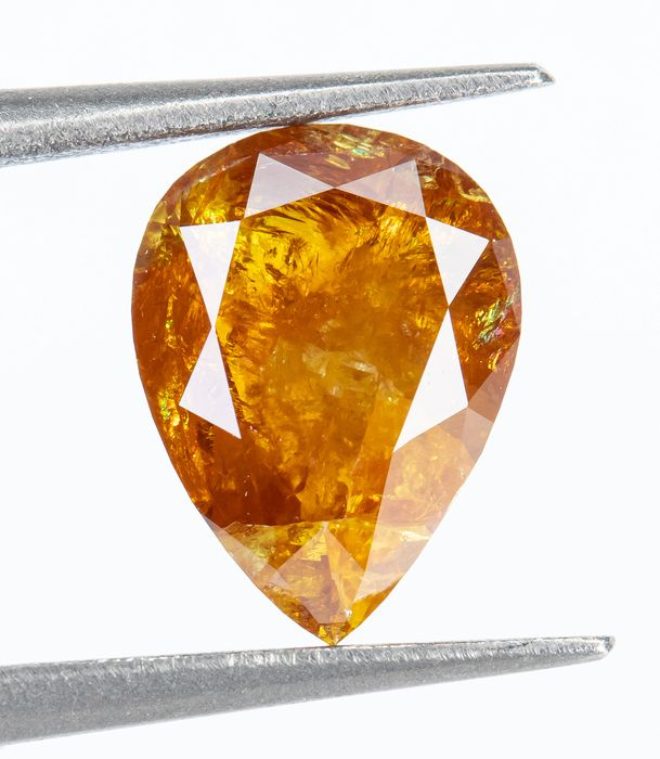 Diamant - 1.12 ct - Natural Fancy INTENSE Orangy Yellow  - I3  *NO RESERVE*