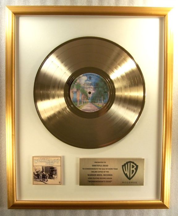 """Grateful Dead - """"Workingman's Dead"""" LP Gold Record Award To The Grateful Dead - Official In-House award - 1970/1973"""
