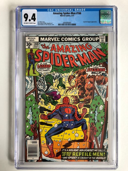 The Amazing Spider-Man #166 - Lizard & Stegron Appearance - CGC Graded 9.4 - Very High Grade!!! - Softcover - Erstausgabe - (1977)
