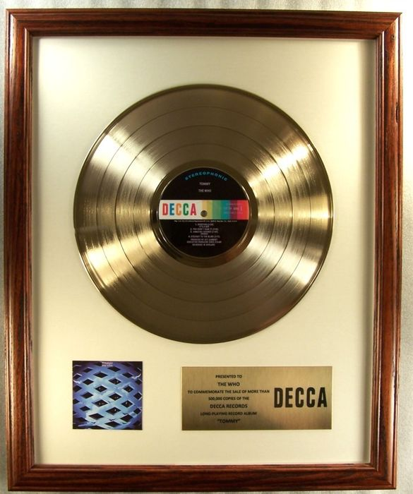 "Who - ""Tommy Soundtrack"" LP Gold Record Award Presented To The Who - Prix officiel interne - 1969/1969"