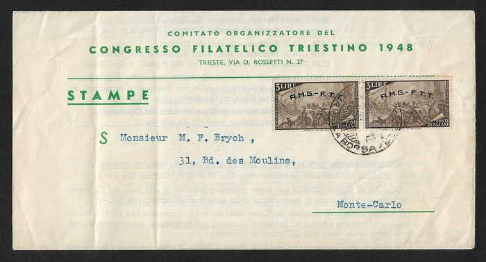 Triëst - Zone A - AMG-FTT, lot composed of 8 envelopes with interesting postage.
