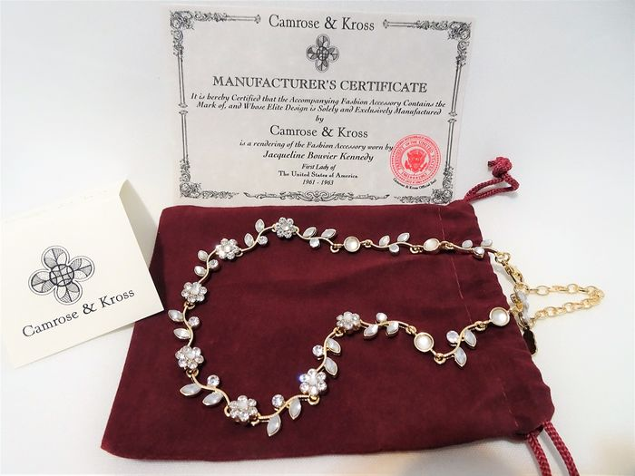 Camrose & Kross - Jackie Bouvier Kennedy -  Gold-plated, Swarovski Crystals - Floral Necklace in Pouch and certificate of Authenticity