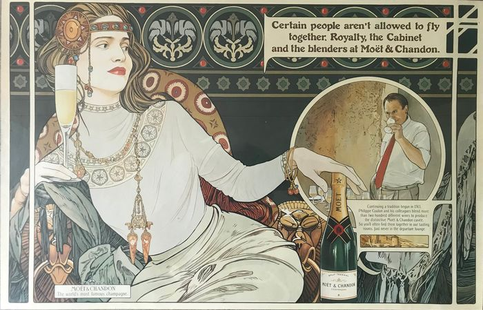 Anonymous - Moet & Chandon The Worlds Most Famous Champagne - Original Lithographic Posters  - Jaren 1960