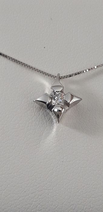 Crusado - 18 kt. White gold - Necklace with pendant - 0.12 ct Diamond