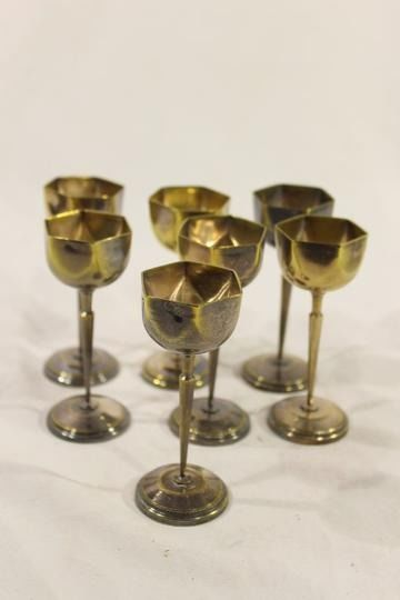 Set of 7 hexagonal brass glasses - Brass