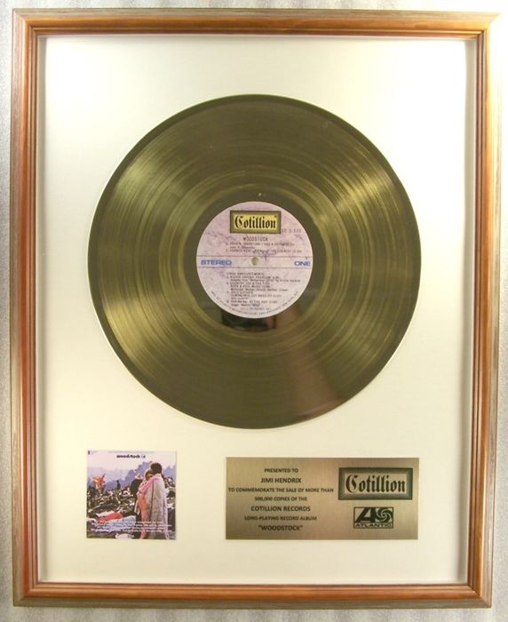 "Woodstock Soundtrack  - ""Woodstock"" LP Gold Record Award To Jimi Hendrix - Official In-House award - 1970/1970"