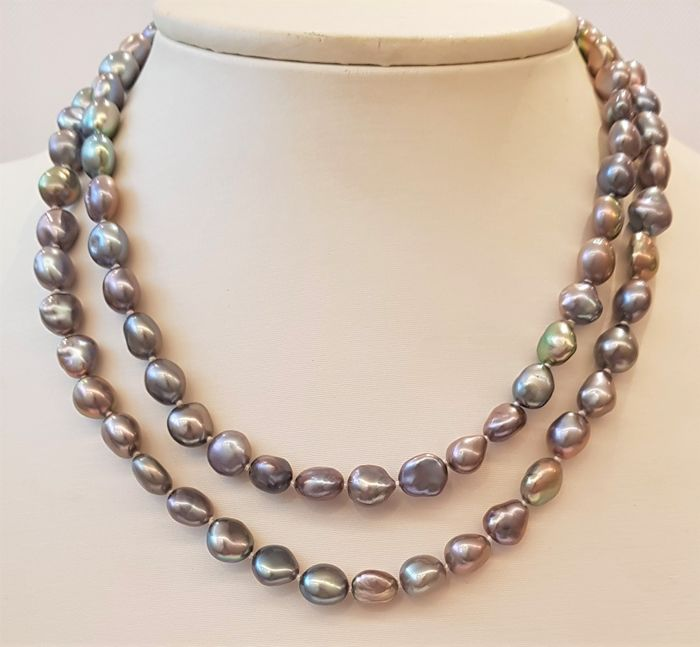 NO RESERVE PRICE - 925 Silver - 8x10mm Lustrous Freshwater Pearls - Necklace