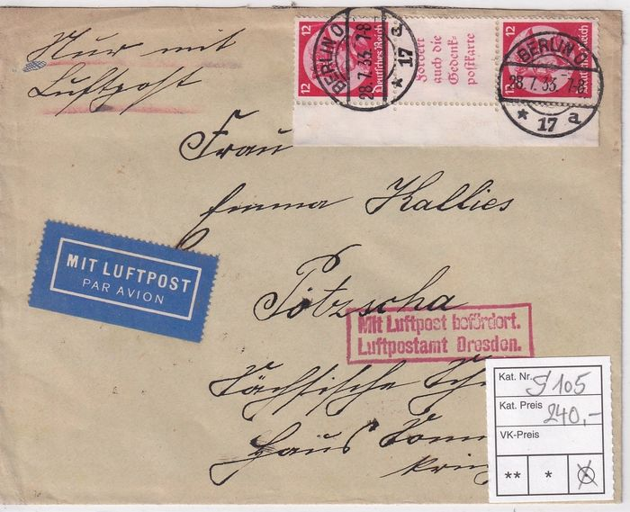 German Empire - Se - tenant printing S 105 on air mail - letter - Michel S 105