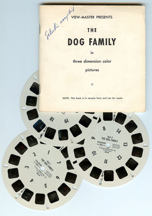 "Sawyer's (View-Master) Buitengewoon schaarse View-Master packet ""The Dog Family"", uitgebracht in 1957 in testvorm."