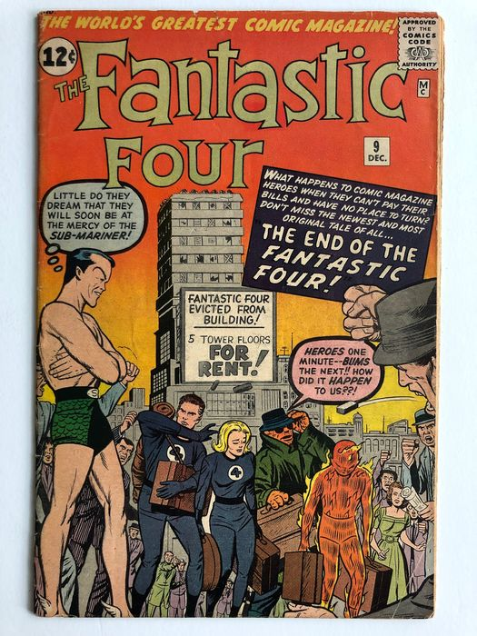 The Fantastic Four #9 - 3rd Silver Age Submariner Appearance - Mid Grade - Softcover - Erstausgabe - (1962)