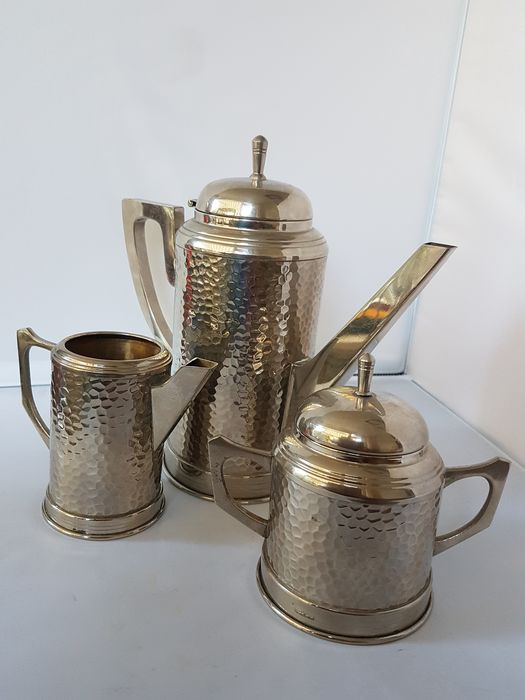 TH - TH - 3 piece coffee / tea set (3) - Art Deco - silver plated