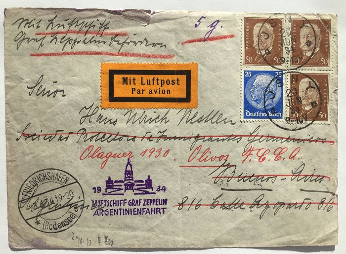 German Empire 1932/1934 - Zeppelin post Argentina and South America flight, 2 letters - Sieger 171