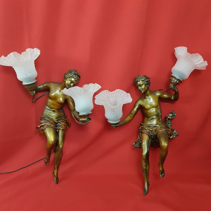 God and goddess wall lamps with glass cups - Renaissance - Resin/Polyester