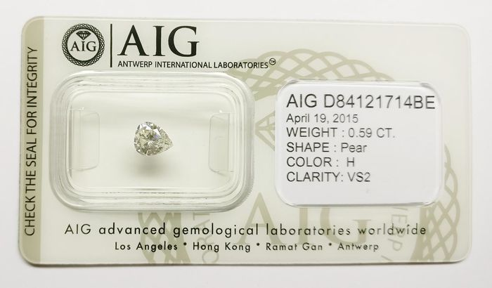 1 pcs Diamante - 0.59 ct - Pera - H - VS2