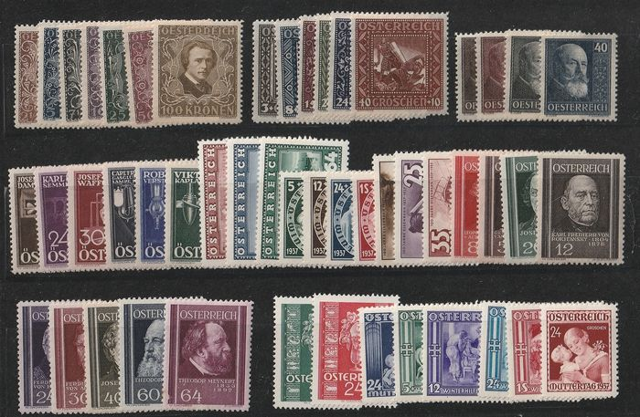 Austria 1922/1937 - Niebelungen, composers, Hainisch, Winter Aid, inventors and 1937, complete. - ANK  418-424 A -488-493 A ,-494 -497 ,-627 -659 50