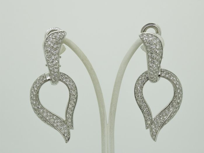18 kt. White gold - Earrings - 2.48 ct Diamond