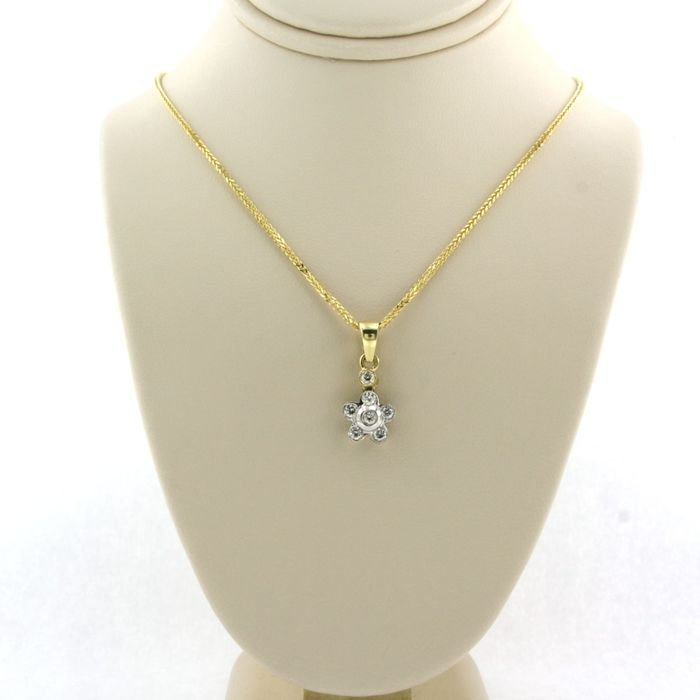 14k gouden collier, 18k gouden hanger White gold, Yellow gold - Necklace with pendant - 0.25 ct Diamond