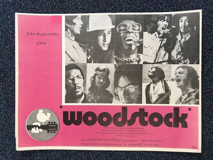 Woodstock & Related - Multiple artists - Original 1970 Spanish movie poster - Official merchandise memorabilia item - 1970