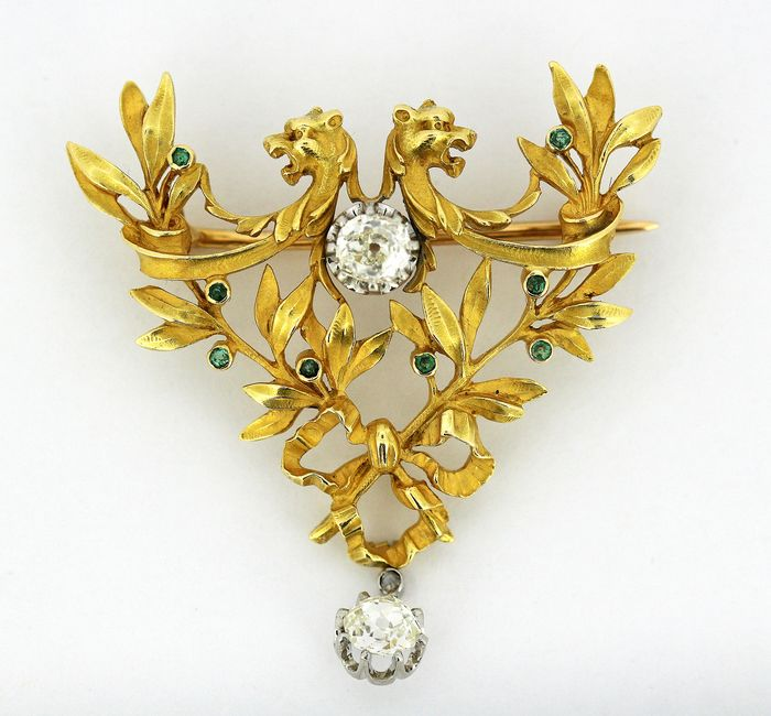 18 kt. Yellow gold - Brooch, Pendant Diamond - Emeralds