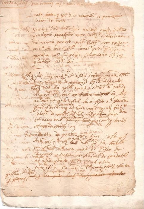 Manuscript; Italian Lease Agreement (plus XVIII Century Transcription) - 1569