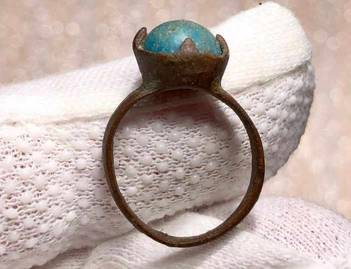 Early medieval Bronze  Excellent Ring With Blue Stone.