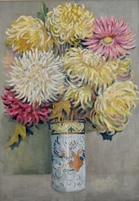 English school (20th century) - Still life of flowers in an oriental case
