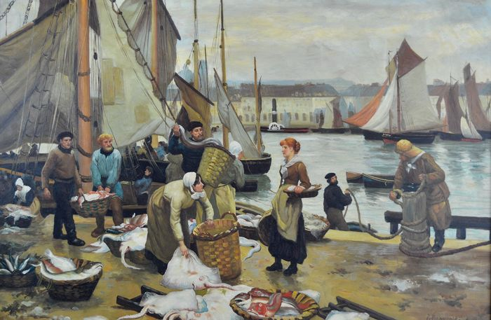 Indistinctly signature (20th century) - A busy harbour scene with fishermen unloading the catch
