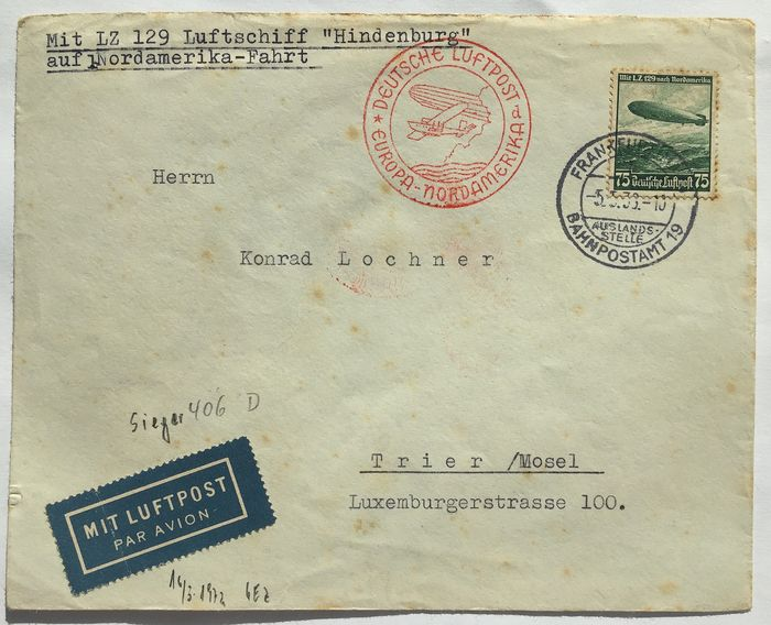 German Empire - 4 zeppelin post letters from various North America flights - Sieger 406 , 26