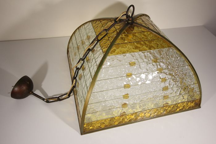 Ceiling lamp in wrought iron and artistic glass - Golden wrought iron and artistic glass