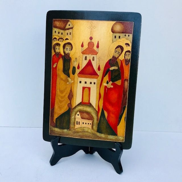 Polychrome Italian Icon engraving with gold leaf - Goldplate, Wood