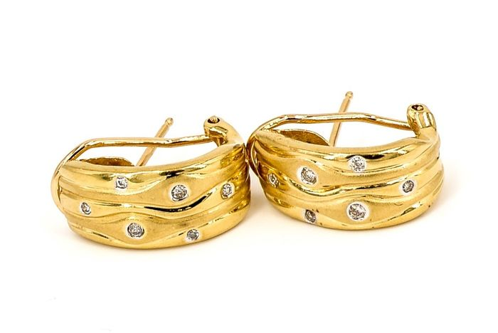 18 kts. Yellow gold - Earrings Diamond