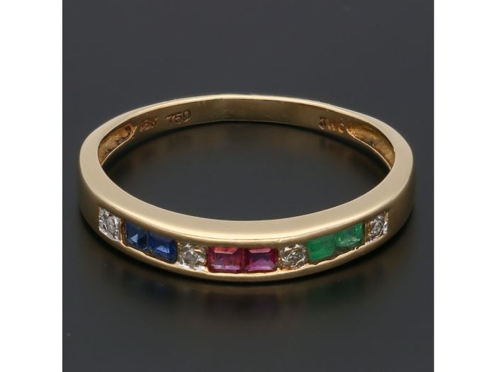 18 kt. Gold - Ring - 0.02 ct Diamond - Emerald - Sapphire - Ruby