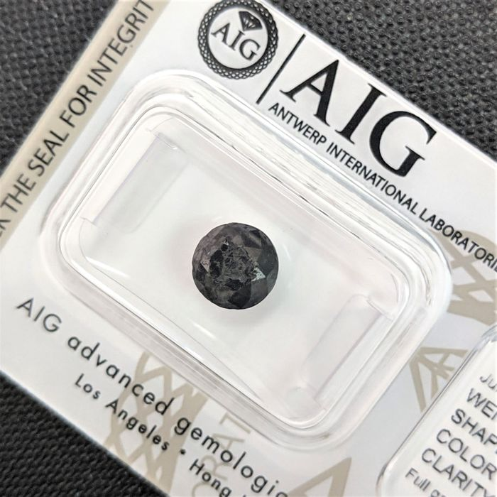 Diamant - 1.90 ct - Brilliant - Fargebehandlet - fancy black - No Reserve Price