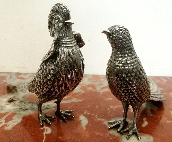 Fantastic Pair of Silver Birds (2) - .915 silver - Spain - First half 20th century
