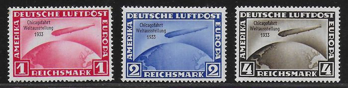 German Empire 1933 - Chicagofahrt Zeppelin - Michel 496 / 498