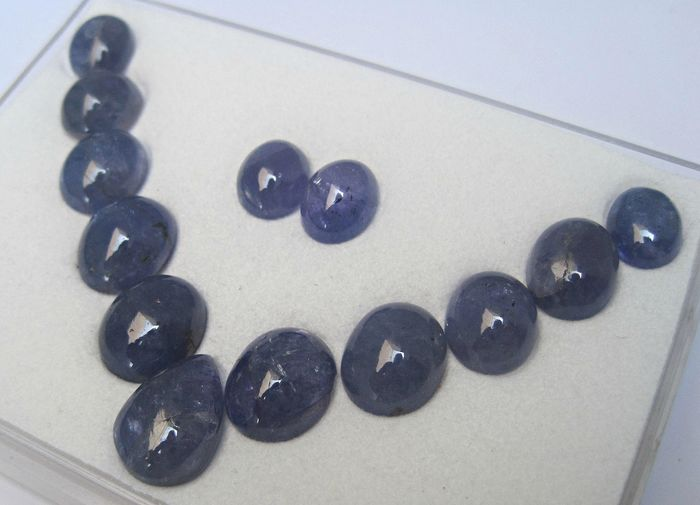 13 pcs Blue Tanzanite - 63.84 ct