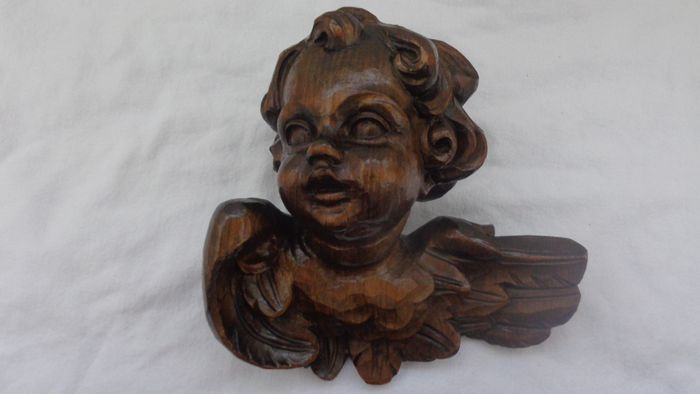 Rießiger Angel's Head Guardian Angel Putto Wandfigur (1) - Wood