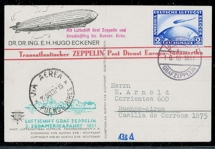 German Empire 1931 - Zeppelin postcard boarding mail to Pernambuco and connecting flight to Buenos Aires 133Ab