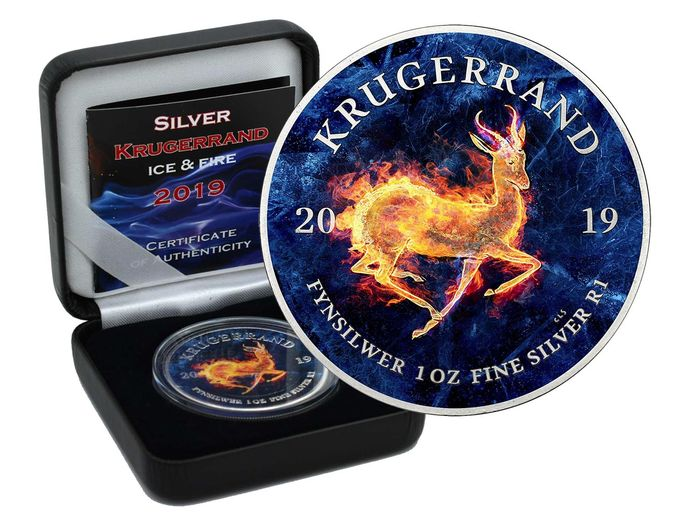Afrique du Sud - Krugerrand 2019  ICE & FIRE Color Edition in Box - 1 Oz - Argent