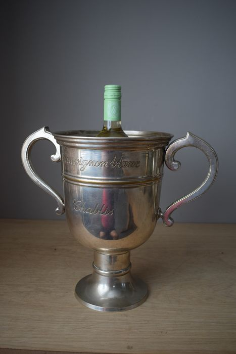 Engraved French wine cooler - Silver plated