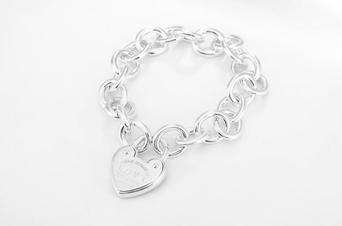 TIFFANY Heart-shaped Lock Tag Bracelet Silver - Bracelet