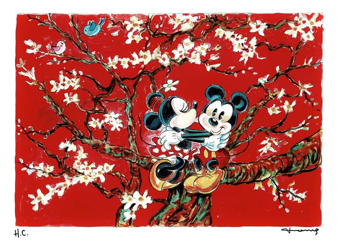 Mickey and Minnie inspired by Van Gogh - Unique Signed H.C. Giclée - Tony Fernandez - First edition
