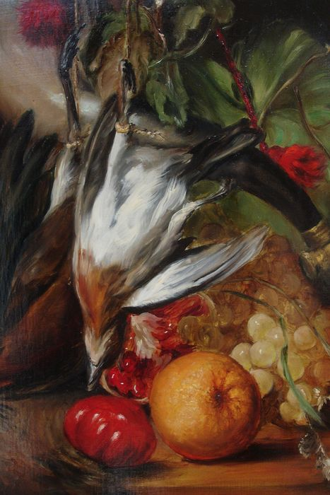 Unknown - Still-life with a bird fruit and flowers