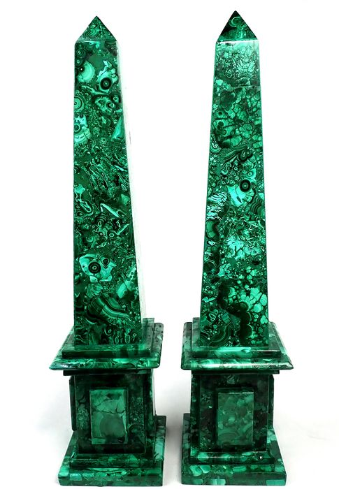 Amazing Two Old Malachite Obelisk - 30.5×7×7 cm - 2260 g - (2)