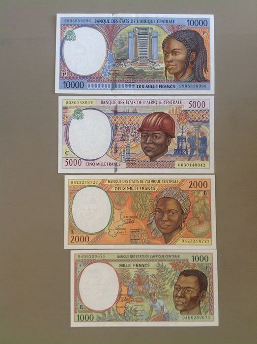 Central African States - 1000, 2000, 5000 and 10000 Francs 1994/2000 - Pick 104Cf, 202Eb, 403Lb and 605Pe