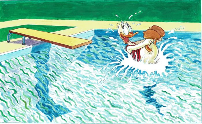 Donald Duck inspired by David Hockney - Large Painting - 70 x 50 cm - Tony Fernandez - Acrylic Art