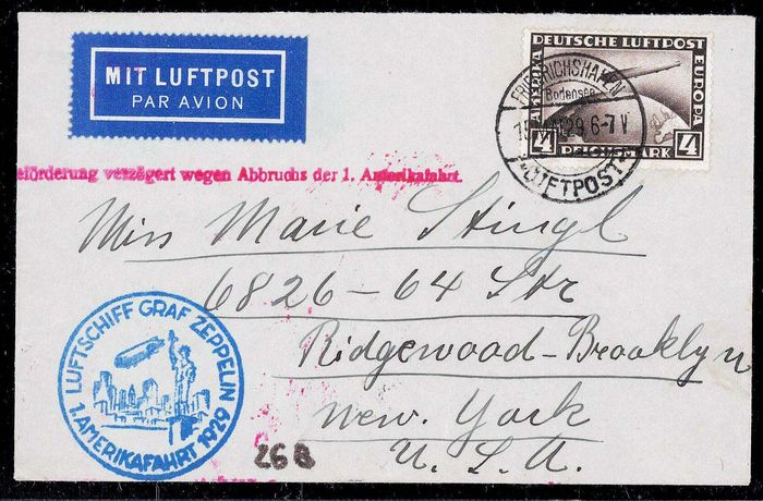 German Empire 1929 - Graf Zeppelin - Due to demolition delayed transport with 1. North America trip 1929 - Sieger 26A