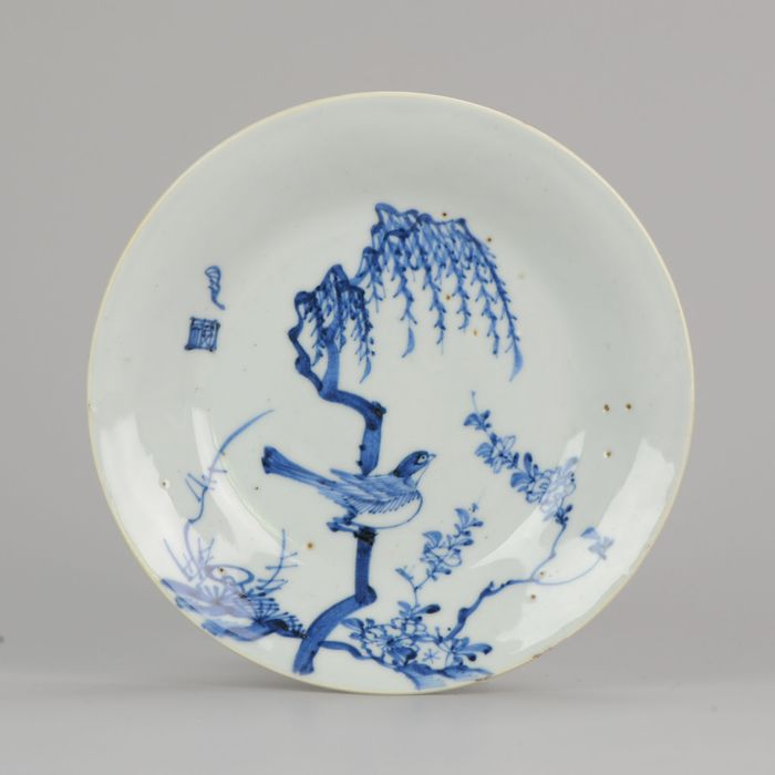 Bord - Porselein - Late Ming or Transitional Plate Bird In Tree Marked - China - 17e eeuw